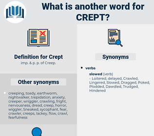 Crept, synonym Crept, another word for Crept, words like Crept, thesaurus Crept