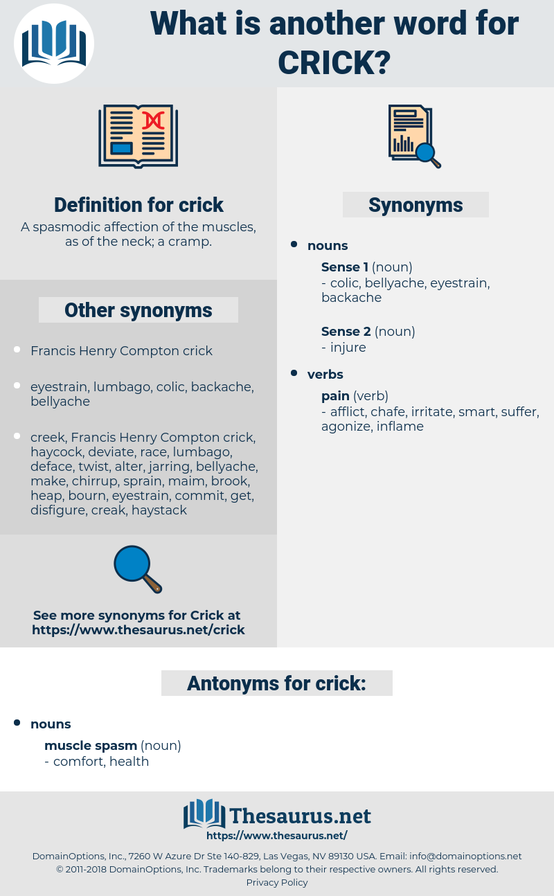 crick, synonym crick, another word for crick, words like crick, thesaurus crick