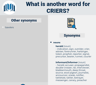 criers, synonym criers, another word for criers, words like criers, thesaurus criers