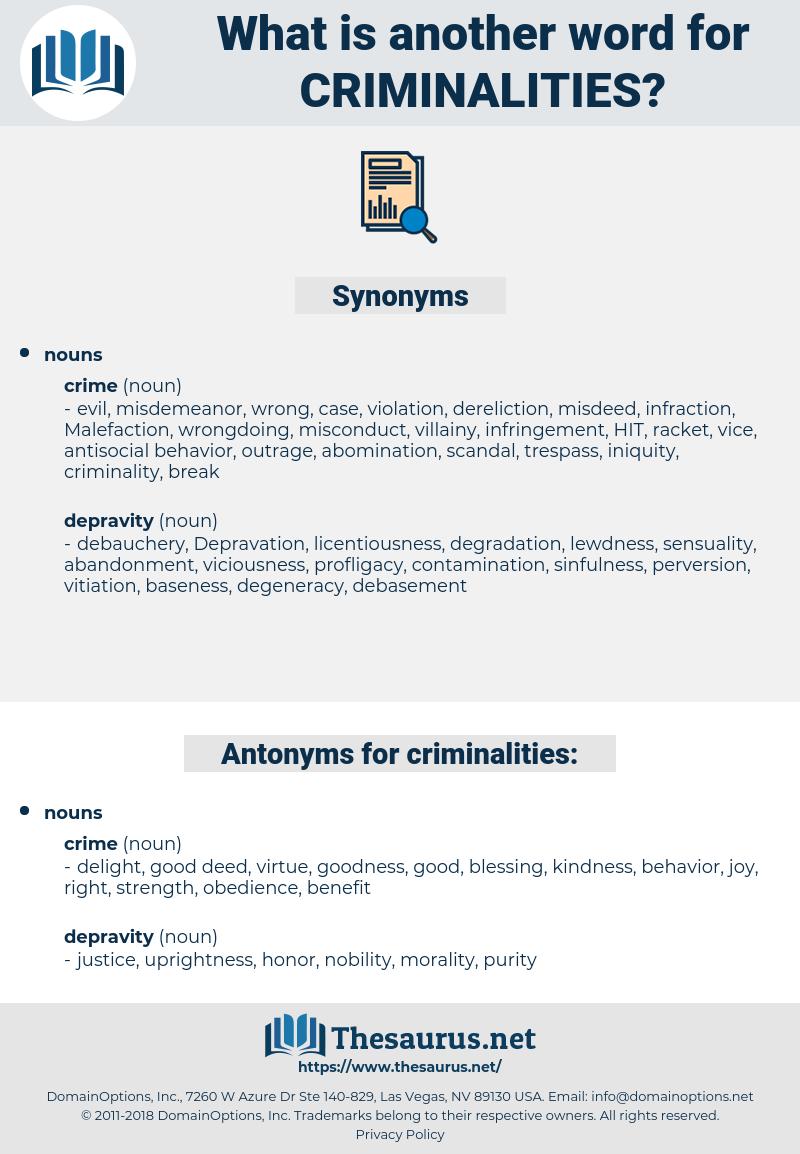 criminalities, synonym criminalities, another word for criminalities, words like criminalities, thesaurus criminalities