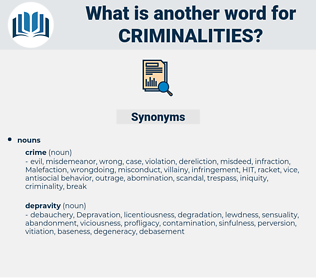 criminalities, synonym criminalities, another word for criminalities, words like criminalities, thesaurus criminalities