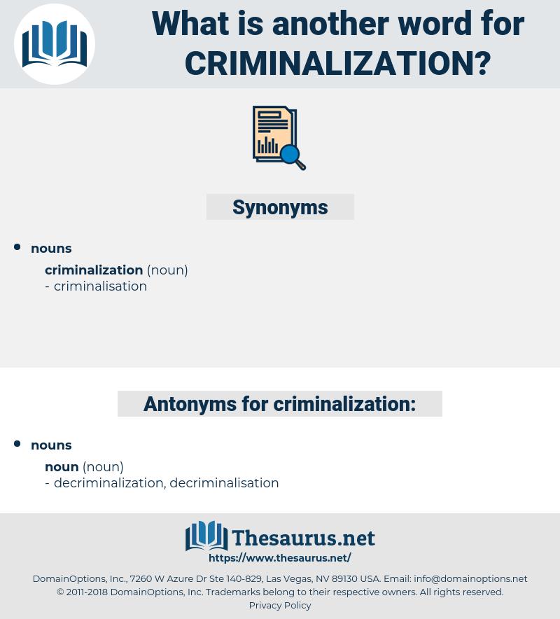 criminalization, synonym criminalization, another word for criminalization, words like criminalization, thesaurus criminalization