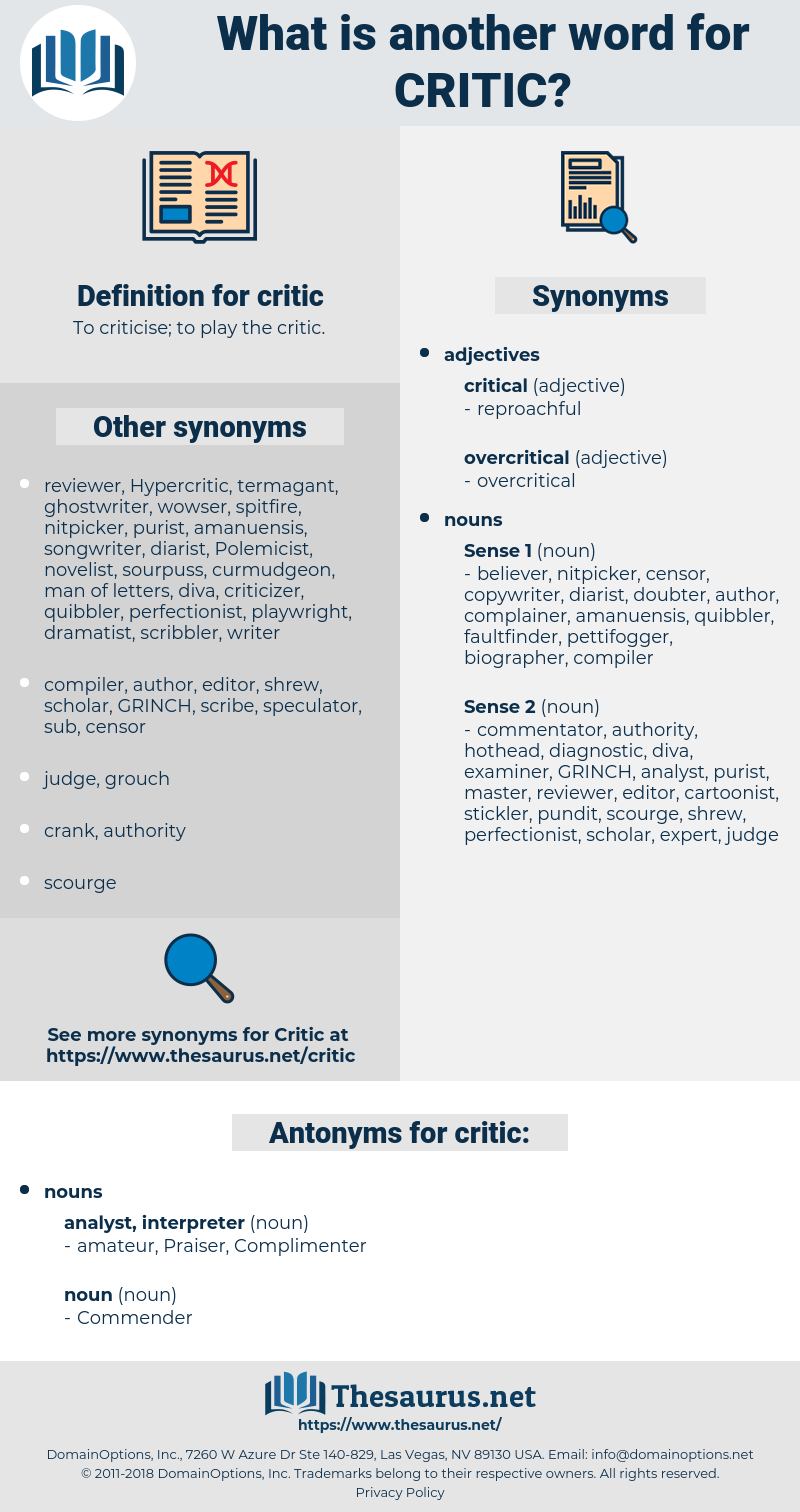 critic, synonym critic, another word for critic, words like critic, thesaurus critic