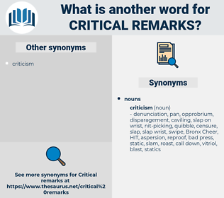 critical remarks, synonym critical remarks, another word for critical remarks, words like critical remarks, thesaurus critical remarks