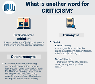 criticism, synonym criticism, another word for criticism, words like criticism, thesaurus criticism