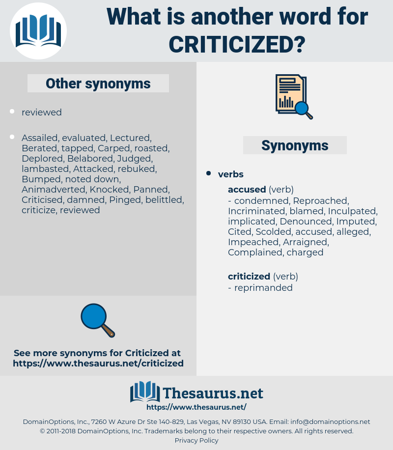 criticized, synonym criticized, another word for criticized, words like criticized, thesaurus criticized