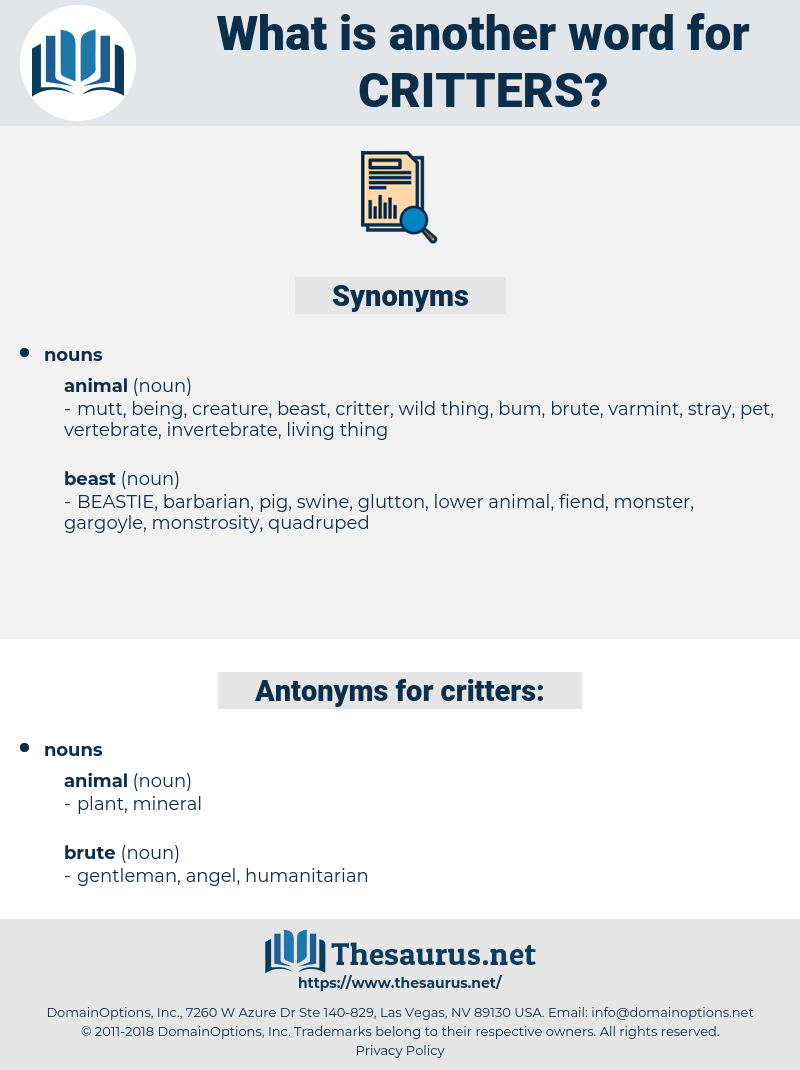 critters, synonym critters, another word for critters, words like critters, thesaurus critters