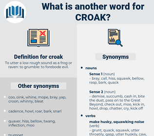 croak, synonym croak, another word for croak, words like croak, thesaurus croak