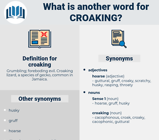 croaking, synonym croaking, another word for croaking, words like croaking, thesaurus croaking