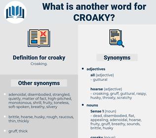 croaky, synonym croaky, another word for croaky, words like croaky, thesaurus croaky
