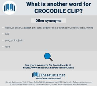 crocodile clip, synonym crocodile clip, another word for crocodile clip, words like crocodile clip, thesaurus crocodile clip