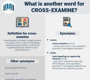 cross examine, synonym cross examine, another word for cross examine, words like cross examine, thesaurus cross examine