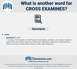 cross examines, synonym cross examines, another word for cross examines, words like cross examines, thesaurus cross examines