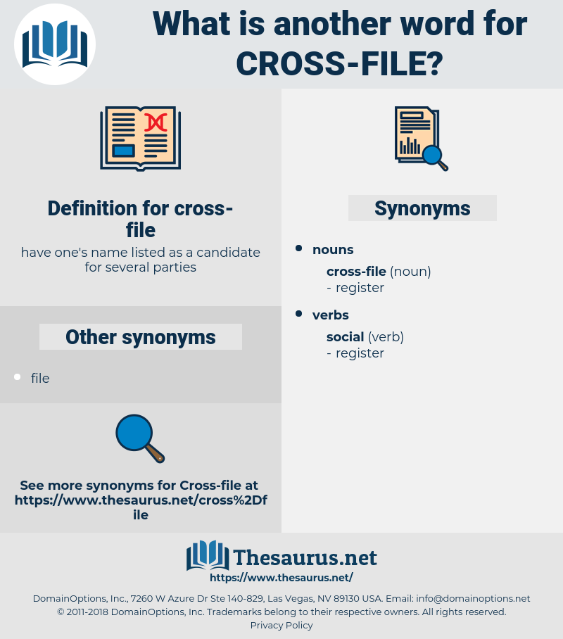 cross-file, synonym cross-file, another word for cross-file, words like cross-file, thesaurus cross-file