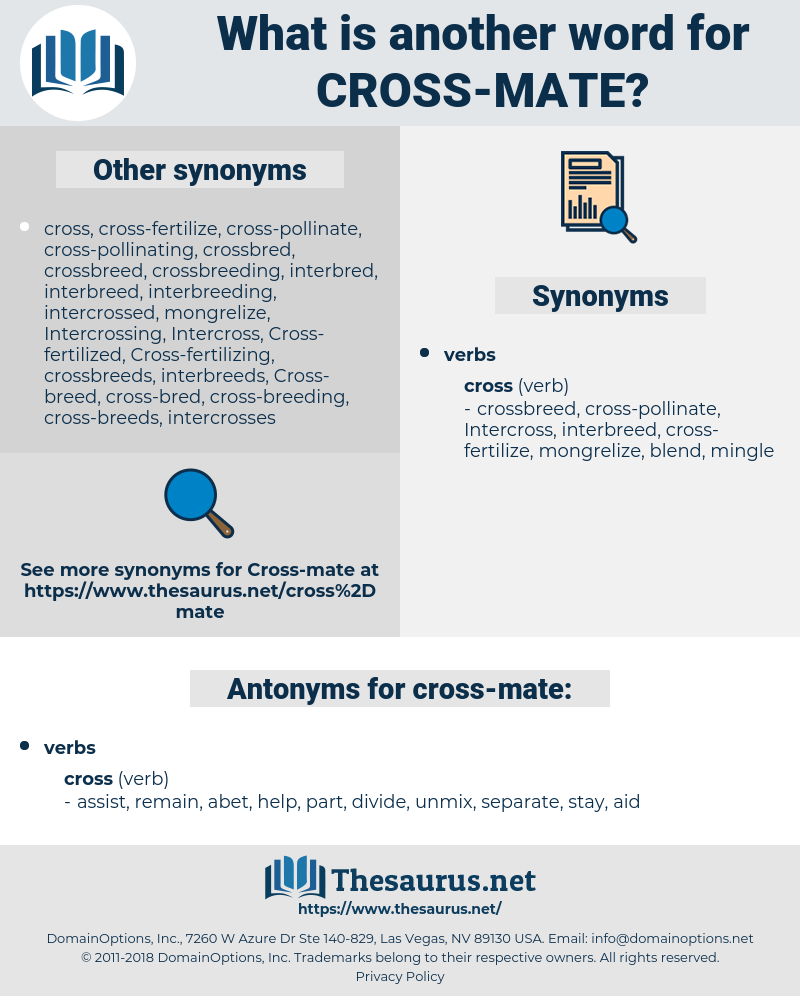 cross-mate, synonym cross-mate, another word for cross-mate, words like cross-mate, thesaurus cross-mate