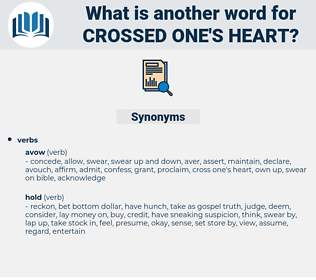 crossed one's heart, synonym crossed one's heart, another word for crossed one's heart, words like crossed one's heart, thesaurus crossed one's heart