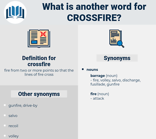 crossfire, synonym crossfire, another word for crossfire, words like crossfire, thesaurus crossfire