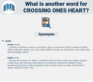 crossing ones heart, synonym crossing ones heart, another word for crossing ones heart, words like crossing ones heart, thesaurus crossing ones heart