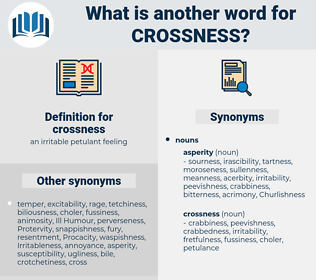 crossness, synonym crossness, another word for crossness, words like crossness, thesaurus crossness