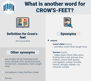 crow's feet, synonym crow's feet, another word for crow's feet, words like crow's feet, thesaurus crow's feet