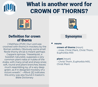 crown of thorns, synonym crown of thorns, another word for crown of thorns, words like crown of thorns, thesaurus crown of thorns