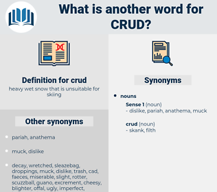 crud, synonym crud, another word for crud, words like crud, thesaurus crud