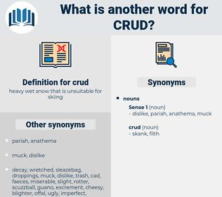 crud, synonym crud, another word for crud, words like crud, thesaurus crud