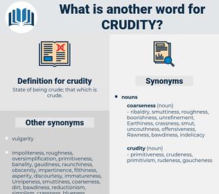 crudity, synonym crudity, another word for crudity, words like crudity, thesaurus crudity