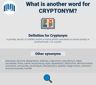 Cryptonym, synonym Cryptonym, another word for Cryptonym, words like Cryptonym, thesaurus Cryptonym