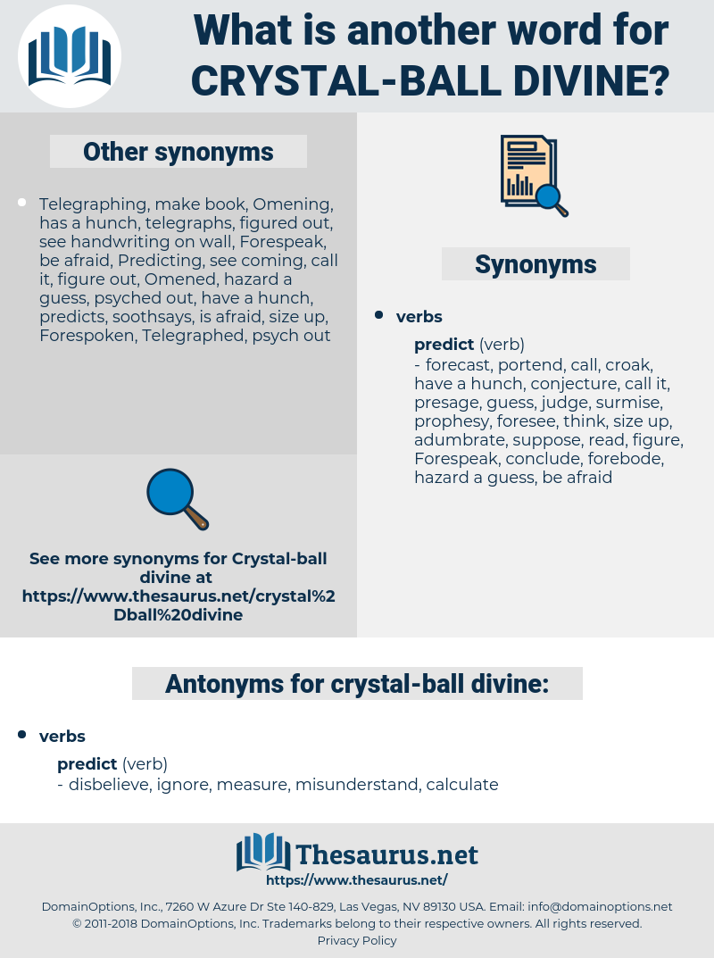 crystal-ball divine, synonym crystal-ball divine, another word for crystal-ball divine, words like crystal-ball divine, thesaurus crystal-ball divine