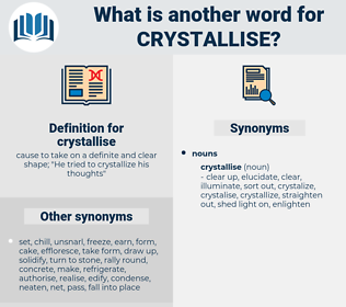 crystallise, synonym crystallise, another word for crystallise, words like crystallise, thesaurus crystallise