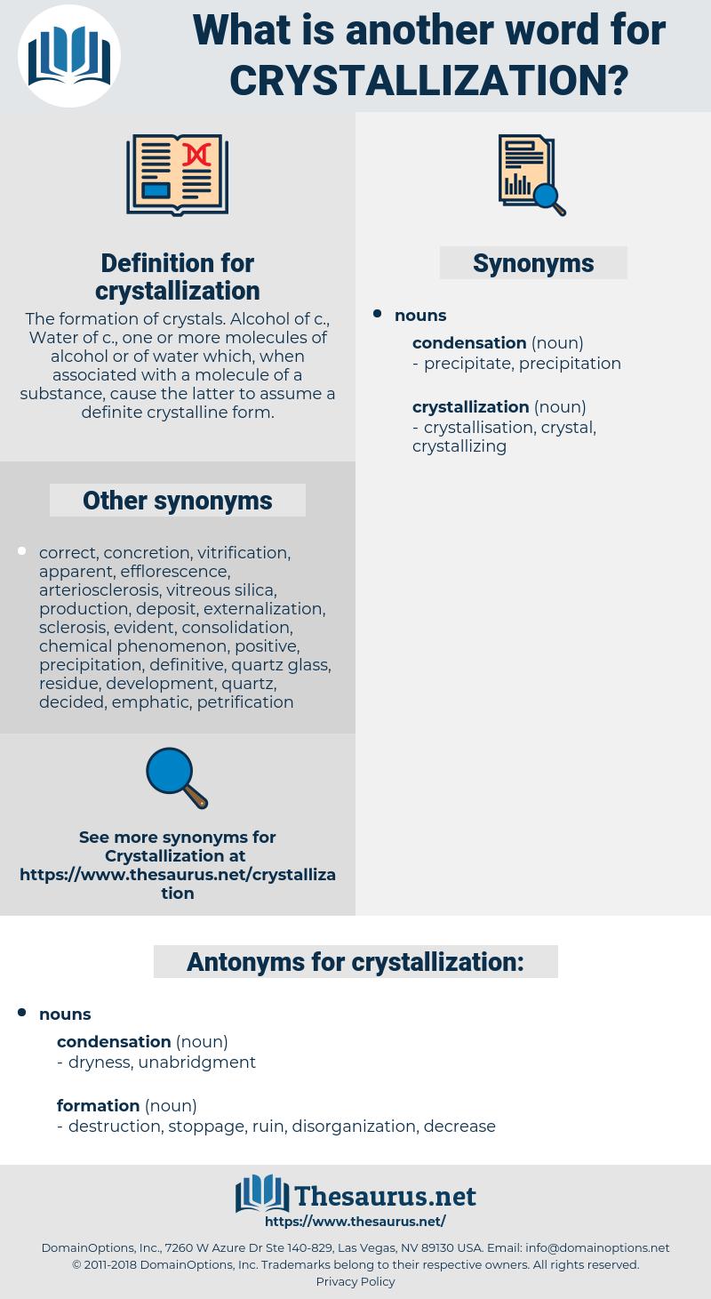 crystallization, synonym crystallization, another word for crystallization, words like crystallization, thesaurus crystallization