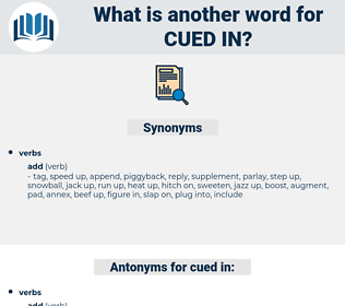 cued in, synonym cued in, another word for cued in, words like cued in, thesaurus cued in