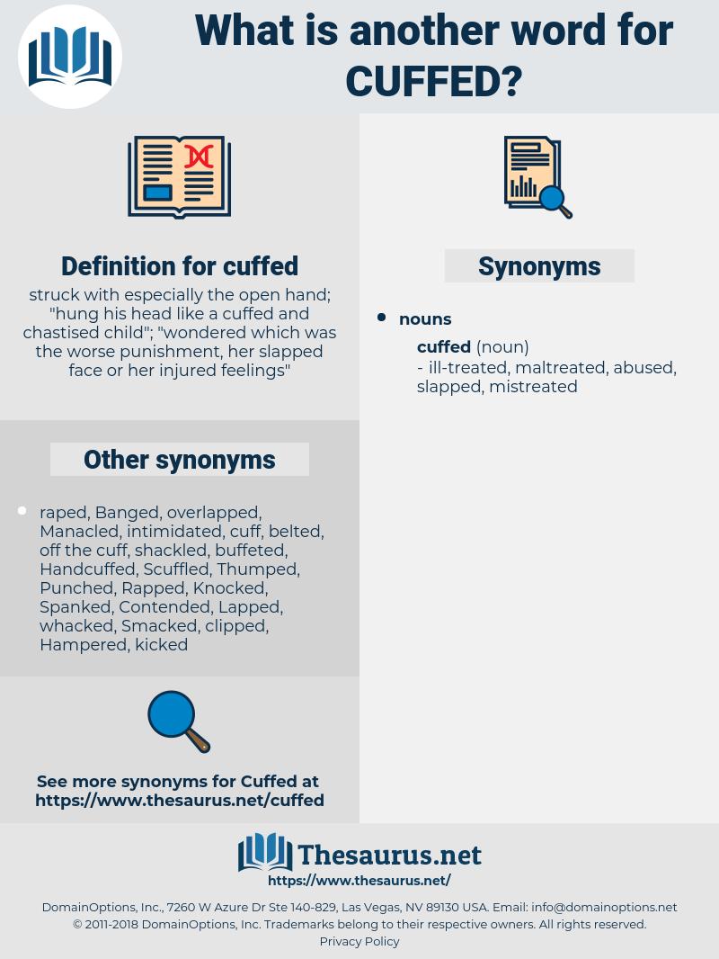 cuffed, synonym cuffed, another word for cuffed, words like cuffed, thesaurus cuffed