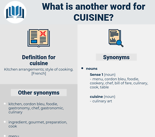cuisine, synonym cuisine, another word for cuisine, words like cuisine, thesaurus cuisine