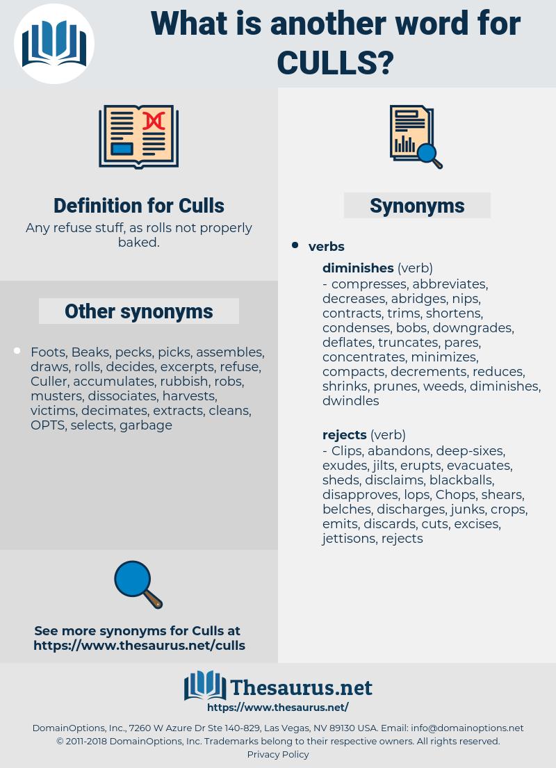 Culls, synonym Culls, another word for Culls, words like Culls, thesaurus Culls