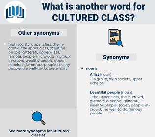 cultured class, synonym cultured class, another word for cultured class, words like cultured class, thesaurus cultured class