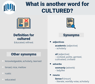 cultured, synonym cultured, another word for cultured, words like cultured, thesaurus cultured