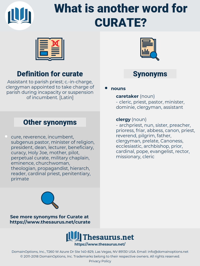 curate, synonym curate, another word for curate, words like curate, thesaurus curate