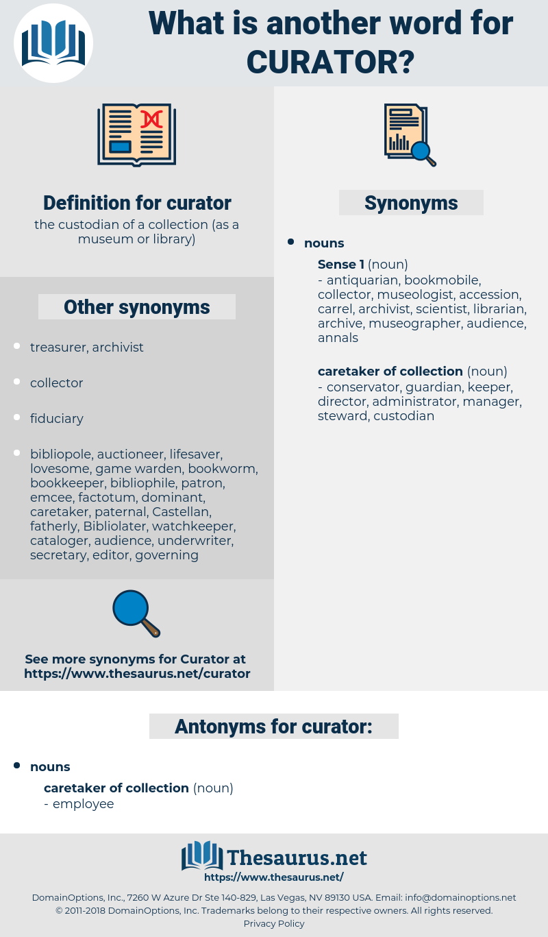 curator, synonym curator, another word for curator, words like curator, thesaurus curator