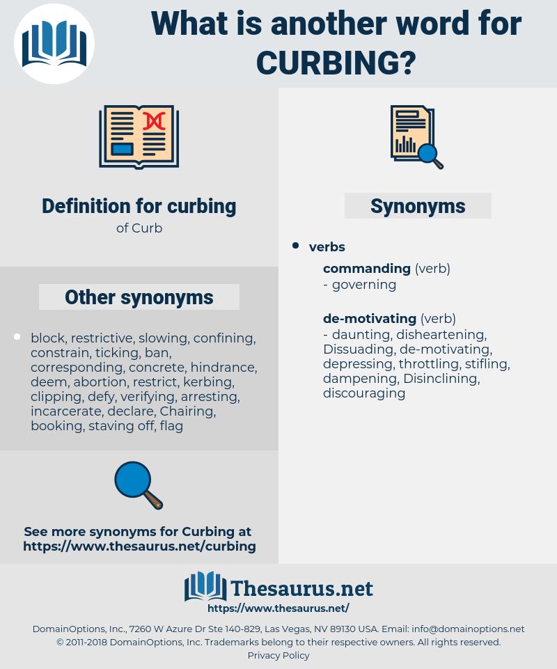 curbing, synonym curbing, another word for curbing, words like curbing, thesaurus curbing