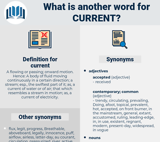 current, synonym current, another word for current, words like current, thesaurus current