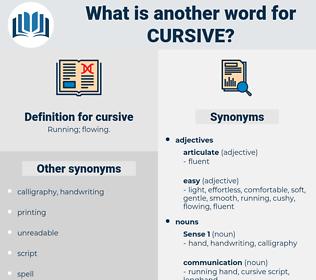cursive, synonym cursive, another word for cursive, words like cursive, thesaurus cursive