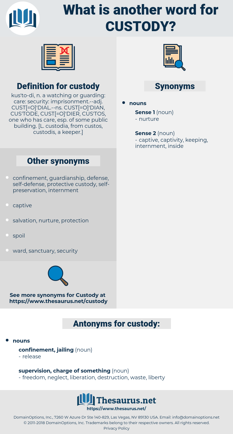 custody, synonym custody, another word for custody, words like custody, thesaurus custody