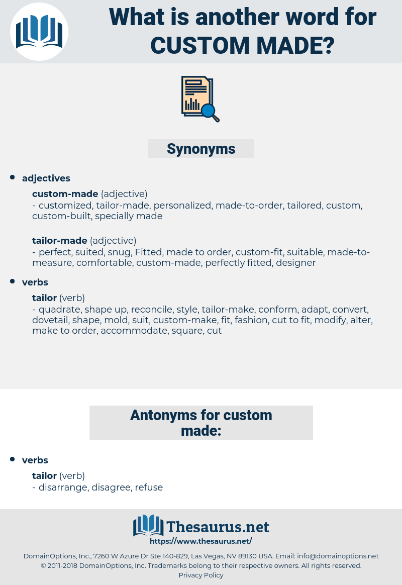 Synonyms For Custom Made Antonyms For Custom Made Thesaurus Net