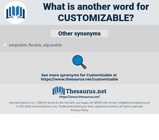 customizable, synonym customizable, another word for customizable, words like customizable, thesaurus customizable