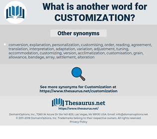 customization, synonym customization, another word for customization, words like customization, thesaurus customization