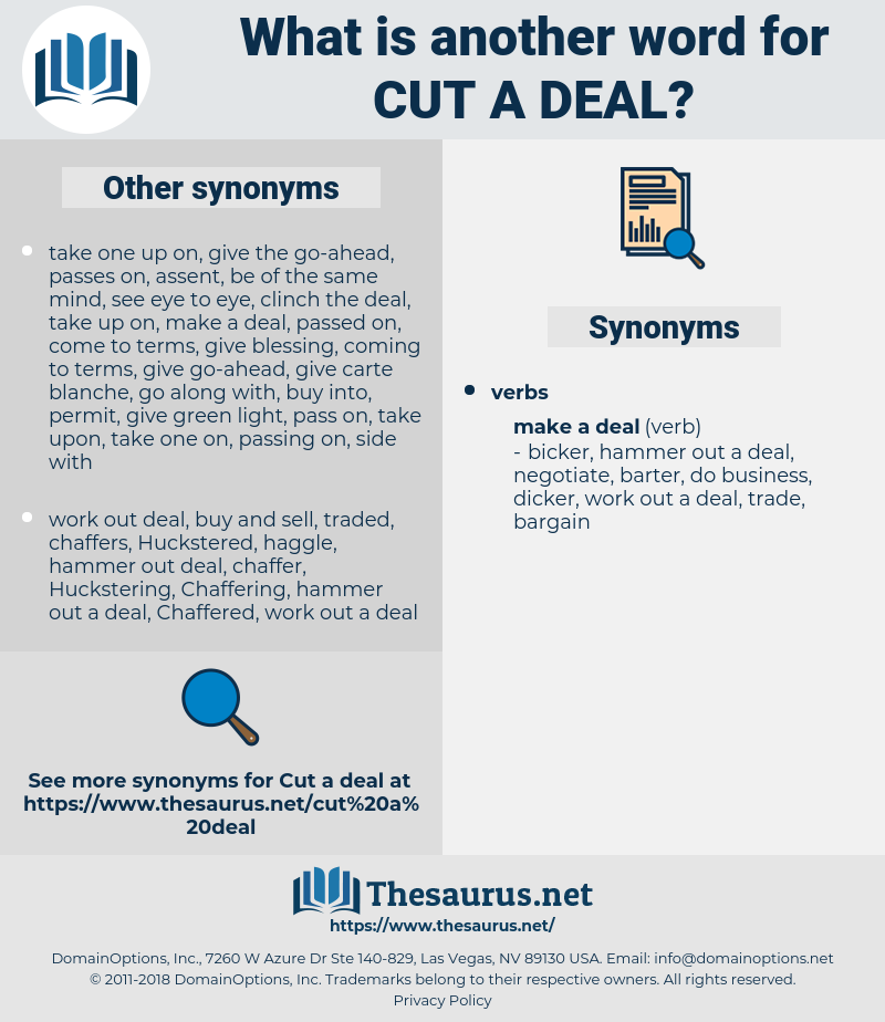 cut a deal, synonym cut a deal, another word for cut a deal, words like cut a deal, thesaurus cut a deal