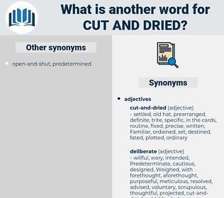 cut and dried, synonym cut and dried, another word for cut and dried, words like cut and dried, thesaurus cut and dried