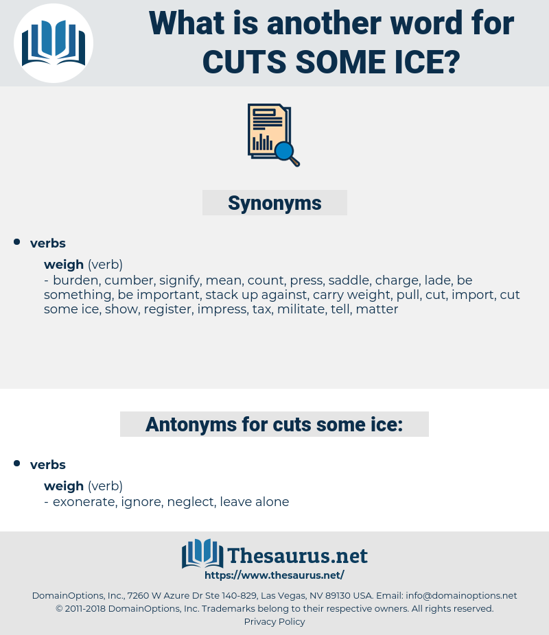 cuts some ice, synonym cuts some ice, another word for cuts some ice, words like cuts some ice, thesaurus cuts some ice